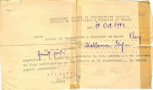 Kelemen Istvan igazolasa hazaterese utan a Munkaero Beosztasi Hivatalhoz (1949. oktober 18.)